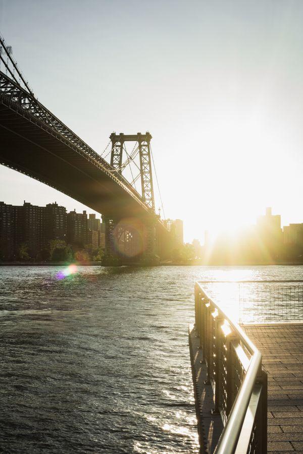 Sun Flaring Next to Williamsburg Bridge