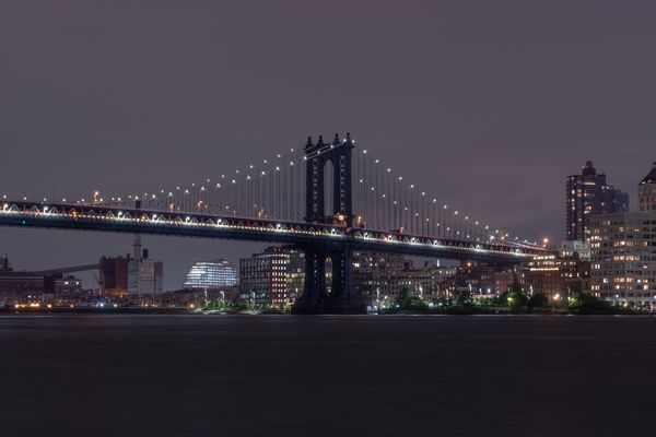 Manhattan Bridge on Cloudy Night