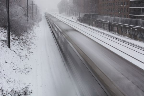 Speeding Train in the Snow