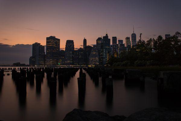 Sunset view of lower Manhattan