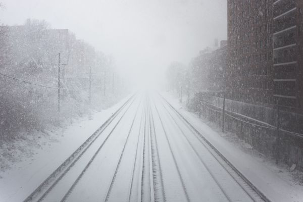 Train Tracks during a Snow Storm