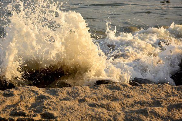 Waves Crashing onto Rocks at Fort Tilden