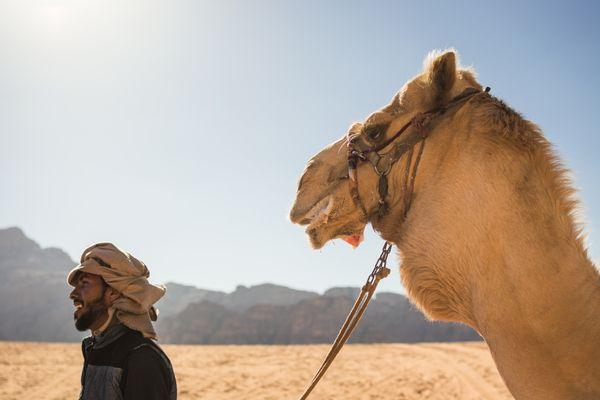 Bedouin and Camel in Wadi Rum