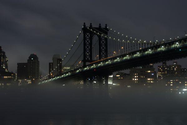 Manhattan Bridge on a Foggy Night