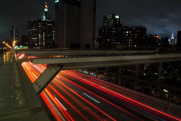 Light Trails on the Brooklyn Bridge