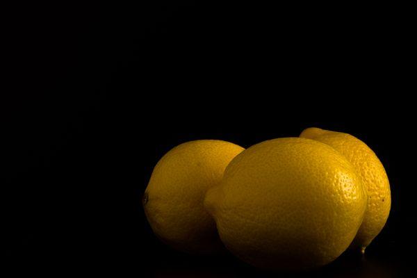 Three Lemons Isolated on Black